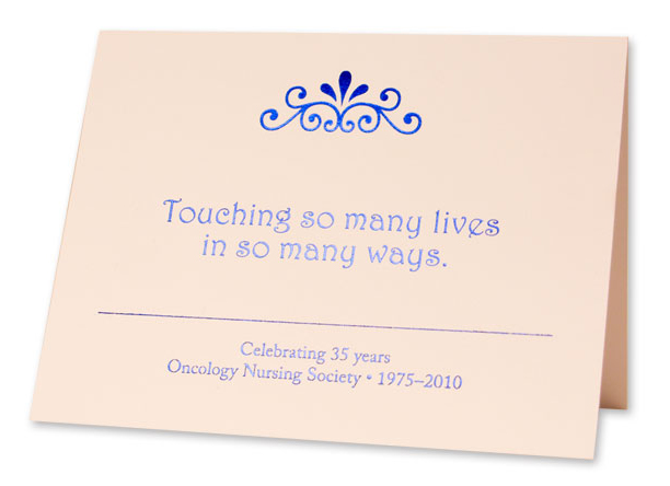 Celebrate the 35th Anniversary of ONS with these note cards. 8 cards per pack