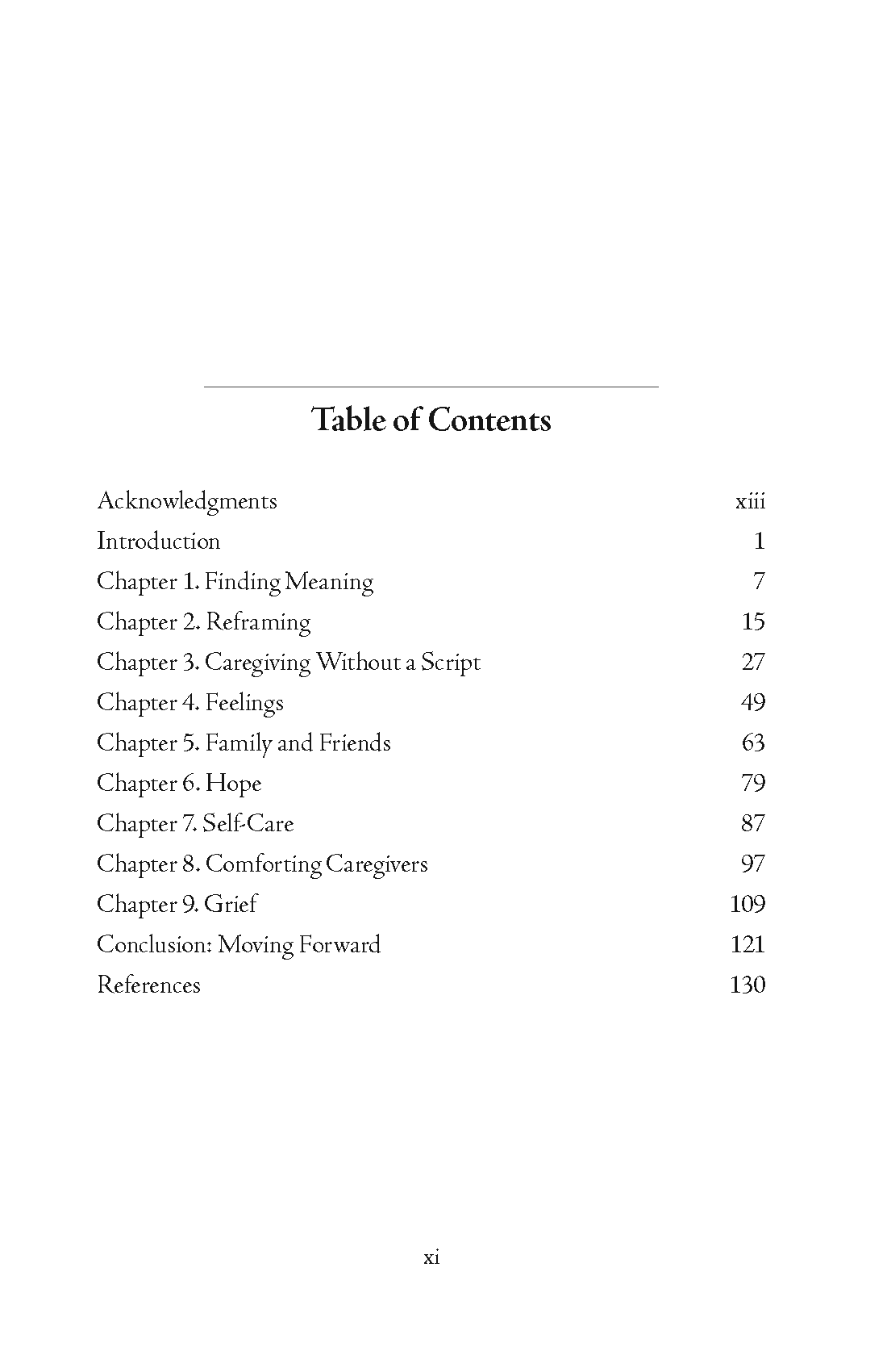 Caregiver's Companion TOC